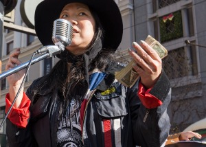 Cho for change, Market and Powell, San Francisco (photo courtesy Gerard Livernois)
