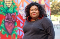 Anna Lisa Escobedo, an executive assistant at the California Historical Society and an artist who chairs the Calle 24 Latino Cultural District's Cultural Assets and Arts Committee in the Mission District, on Monday, Oct. 22, 2018. (Kevin N. Hume/S.F. Examiner)